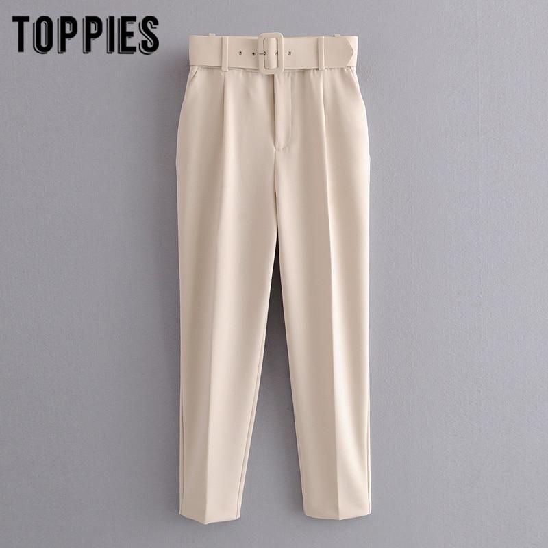 Biege Suit Pants Women High Waist Cargo Pants Belt Solid Color Trousers Joggers Pantalones De Mujer