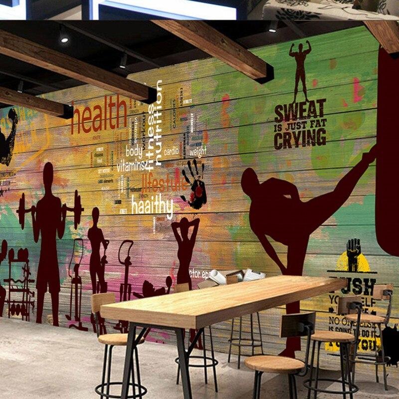 Livraison directe livraison directe papier peint personnalisé rétro Graffiti Vintage planche Sport Fitness Club Image mur Graffiti papier peint - 3