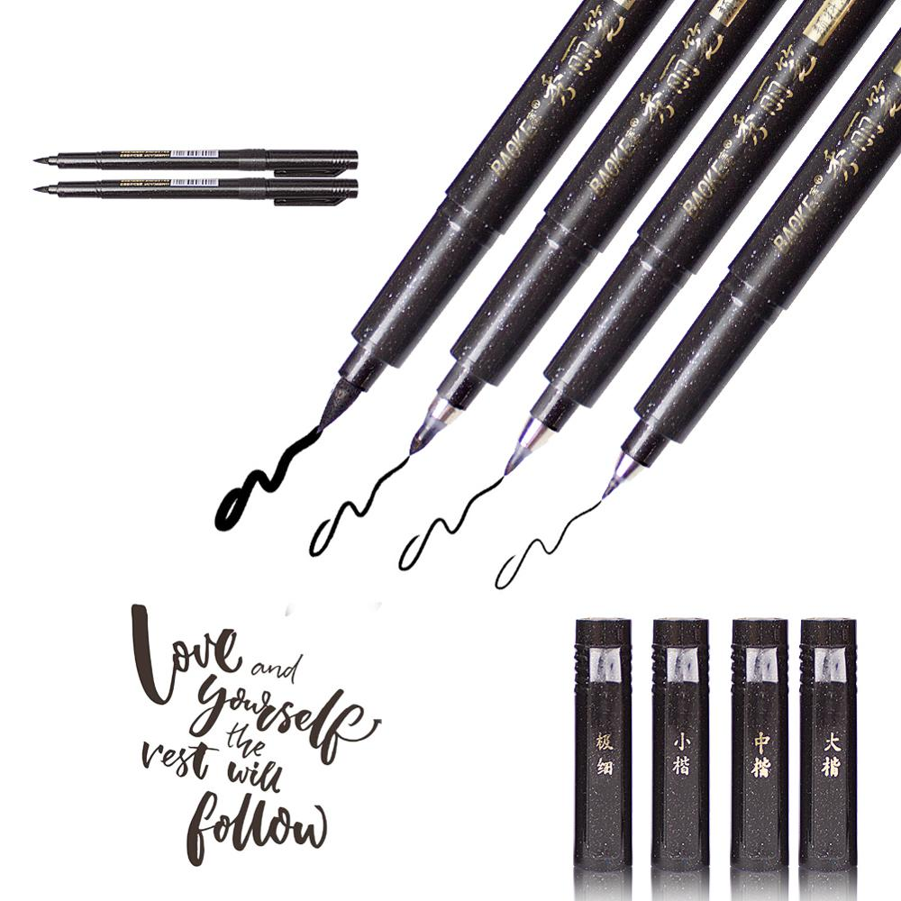Calligraphy Brush Pen Set  4 Pcs Pen School Kit Art Brushes For Writing Painting Back To School Large Drawing Set Sketching Pen
