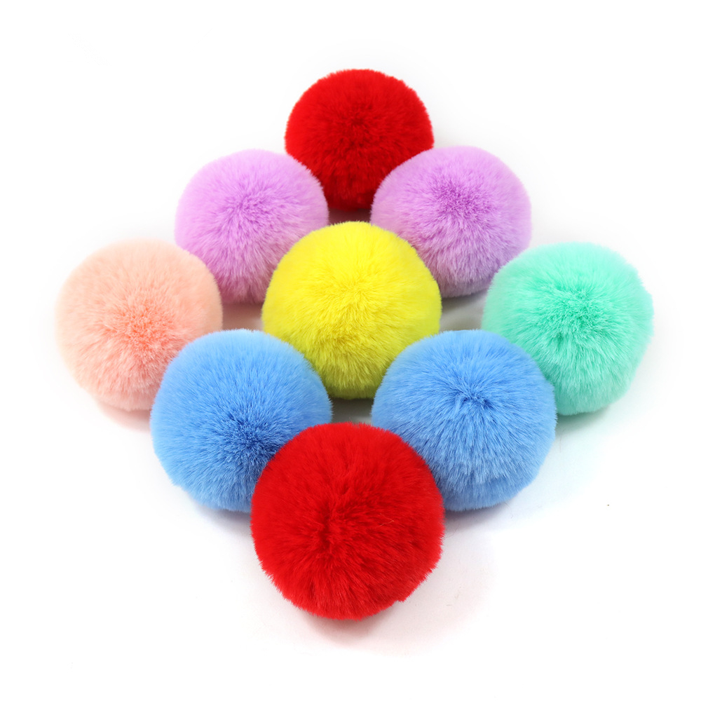 Factory Price! 10PCS DIY Custom Multicolor Faux Fur Pompom Hair Ball 8CM Small Pompon Rubber Band Hats Clothing Accessories