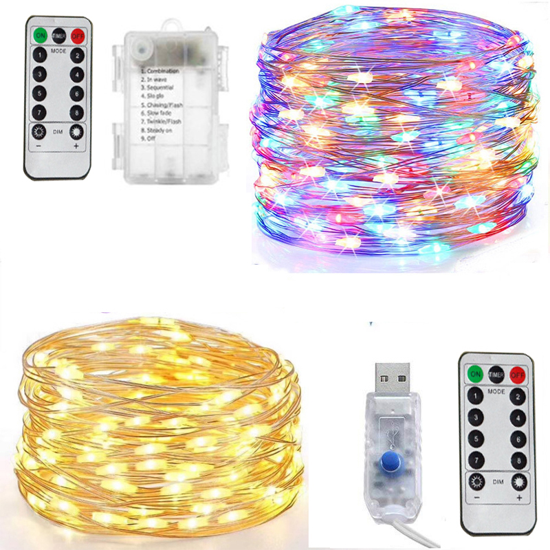 5M/10M/20M LED starry sky light string fairy garland battery power copper wire lamp for party Christmas wedding decoration
