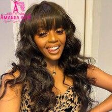 Wig Bangs Hair-Wig-Glueless Body-Wave Full-Machine Women Brazilian for with Made 28-