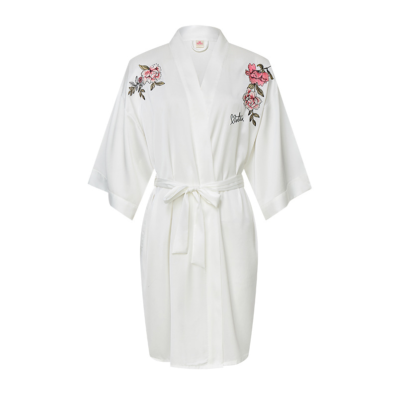 Victoria's Secret Women's Robes Bride Morning Gowns Bridesmaid Makeup Bathrobe Embroidered Nightgown Tracksuit Victoria Pajamas