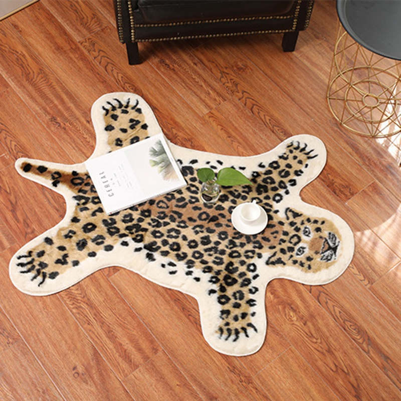 Soft Tiger Printed Home Decor Washable Faux Skin Bedroom Coffee Table Carpet Area Rug Living Room Mat Long Plush Non Slip