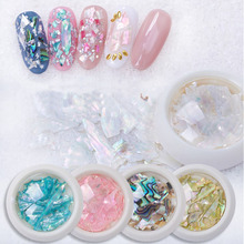 1Box ultra-thin Nail Decorations 3D Shiny Abalone Pearl Shell Slice Flake Art Stones Charms  Tips Manicure Accessories