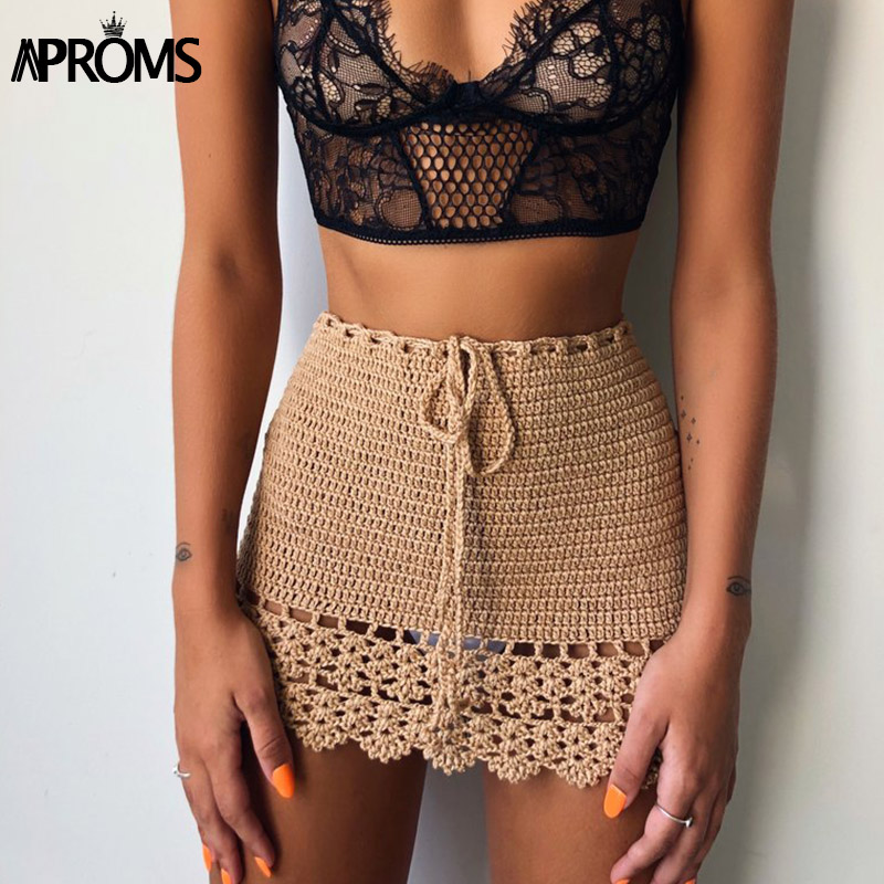 Aproms Elegant Handmade Cotton Crochet Mini Skirts Women Summer High Waist Bow Tie Skirt Ladies Beach Bikini Bottoms Saias 2020