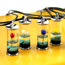 Women Transparent Glass Bottle Pendant Necklace Handmade Dried Flower Lotus Permanent Preservation Jewelry Wax Rope