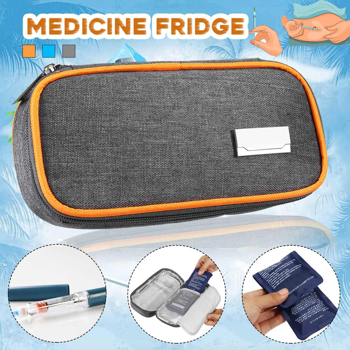 Portable Insulin Cool Cooler Bag Medicine Fridge With 2 Ice Bags Pill Box Bolsa Termica Aluminum Foil Ice Bag Cooler Pill Box