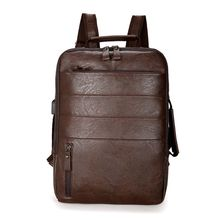 Travel Laptop Multi-functional Backpack PU Leather Large Capacity Daypack Teenager Casual Student Bookbag