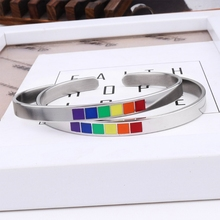 Jewelry 6mm Bracelets Bangle Cuff Lesbian Rainbow Stainless-Steel LGBTQ Pride Gay Fashion