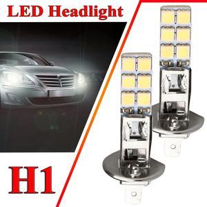 2PCS H1 55W LED Headlight Bulbs Kit Fog Driving Day Running Lamp 6000K Super White 5050 12LEDs Bulbs Headlamps