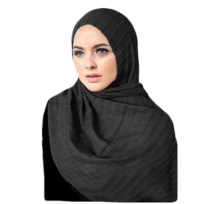 2019 Soild Color Rippled Cotton Hijab Scarf Muslim Soft Headscarf Female Foulard Islamic Clothing Hijab Ladies Shawls