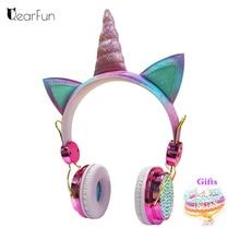 Cute Unicorn Wired Headphone With Microphone Girls Daugther Music Stereo Earphone Computer Mobile Phone Gamer Headset Kids Gift