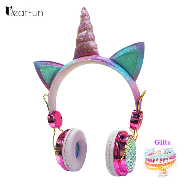 חמוד Unicorn Wired אוזניות עם מיקרופון בנות Daugther מוסיקה סטריאו אוזניות מחשב נייד טלפון גיימר אוזניות ילדי מתנה