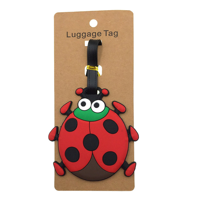 Cartoon Animal Ladybug Luggage Tags Silica Gel Suitcase Holder Addres Credt Travel Accessories Baggage Boarding Cute Portable image