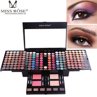 Miss Rose piano 180 colors makeup set matte eyeshadow palette nude shimmer eye shadow pigment with brush mirror in box