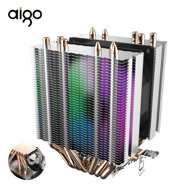 Aigo L6 สอง Tower CPU Cooler ฮีทซิงค์ 6 Direct Contact ความร้อนท่อหม้อน้ำ 90mm LED พัดลมคอมพิวเตอร์ CPU Cooling Cooler
