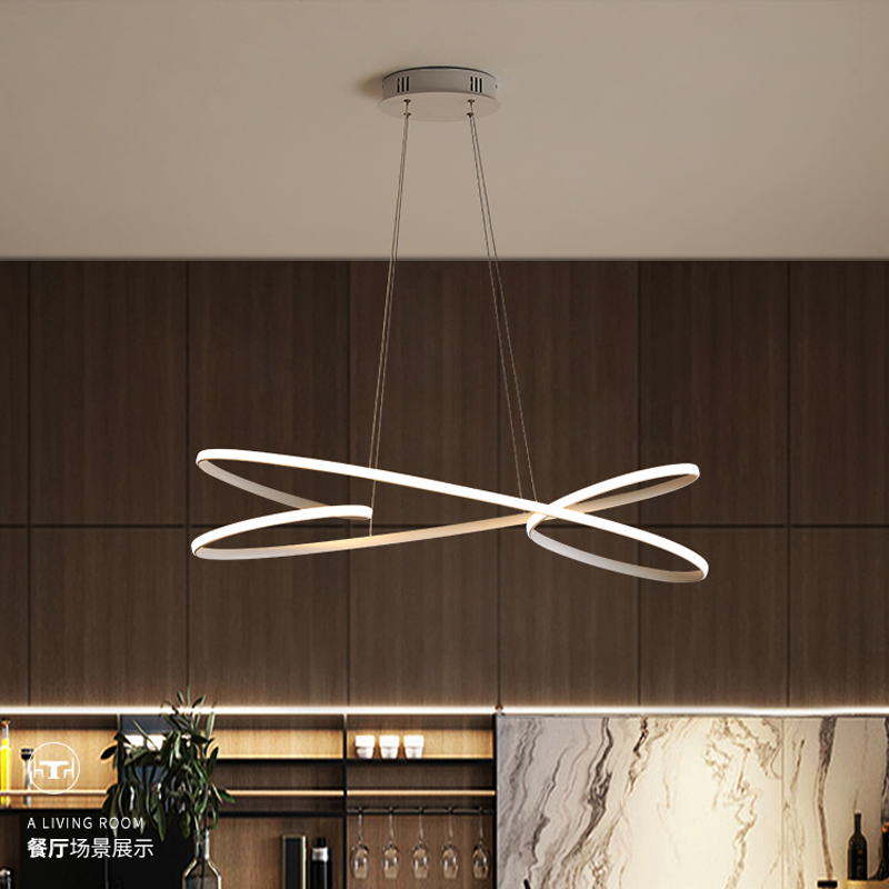 Black/White Modern Led Pendant Lights For Kitchen Bar Suspension Living Room Dining Room  Pendant Lamp Aluminum Fixtures