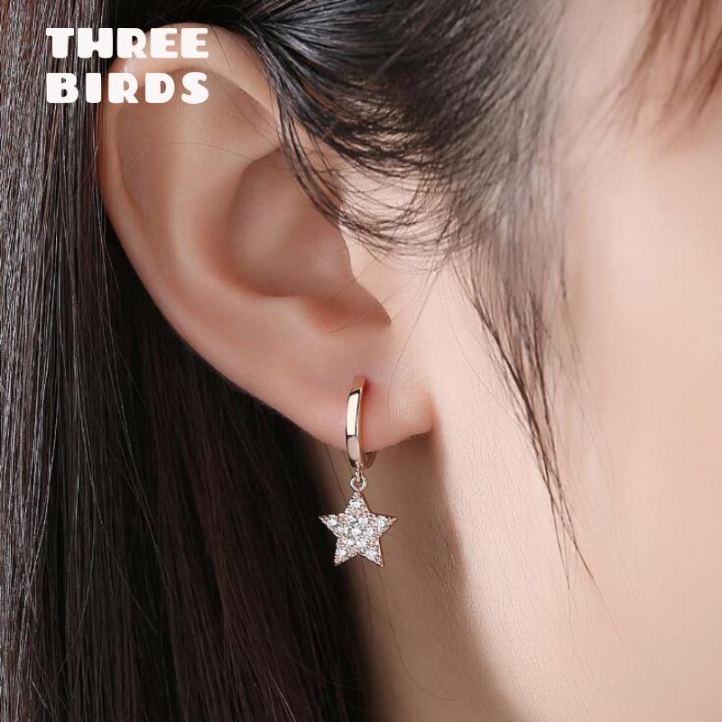 925 Sterling Silver Cubic Zirconia CZ Drop Dangle Star Hoop Earrings