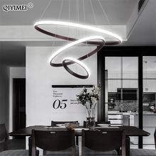 Modern LED Pendant Lights Hang Lamp Living Room Foyer White Coffee Black External Illumination Ring Lighting Luminaria Abajur De