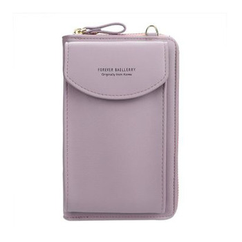 2020 new ladies wallet solid color small Messenger bag multi-function cell phone pocket portable with chain shoulder bags - light purple, One Size