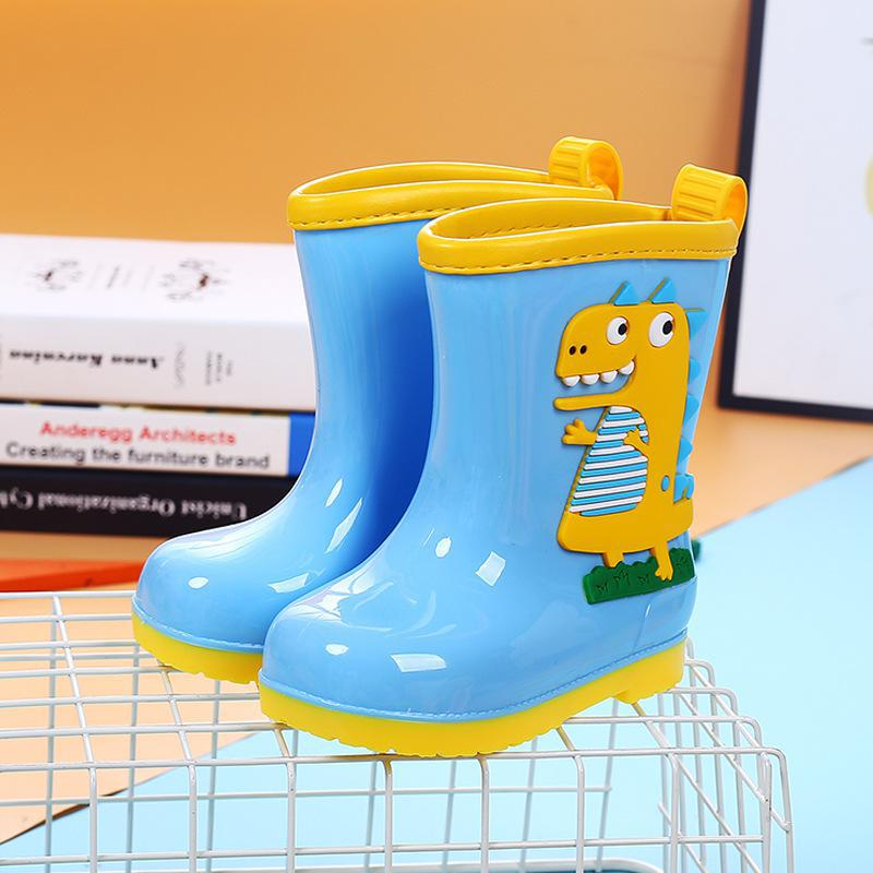 Cute   Rain Boots Kids Boys Non-slip Rubber Boots Toddler Girls Waterproof Water Shoes Warm Children Rainboots Four Seasons Remo