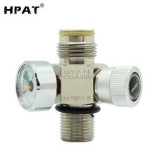 Paintball-On/Off-Valve Co2 Cylinder 3000psi-Gauge Hpat-Plated with Or Fill-Nipple M18--1.5