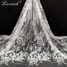 1yard Sequined polyester unilateral positioning embroidery mesh tulle lace diy wedding dress bud silk screen fabric