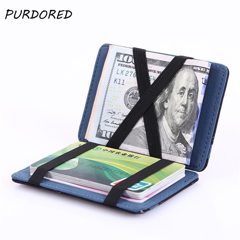 PURDORED 1 Pc Magic Card Holder Solid Men Business Card Case Artificial Leather Wallet Purse Men Casual Pockets Travel Wallet
