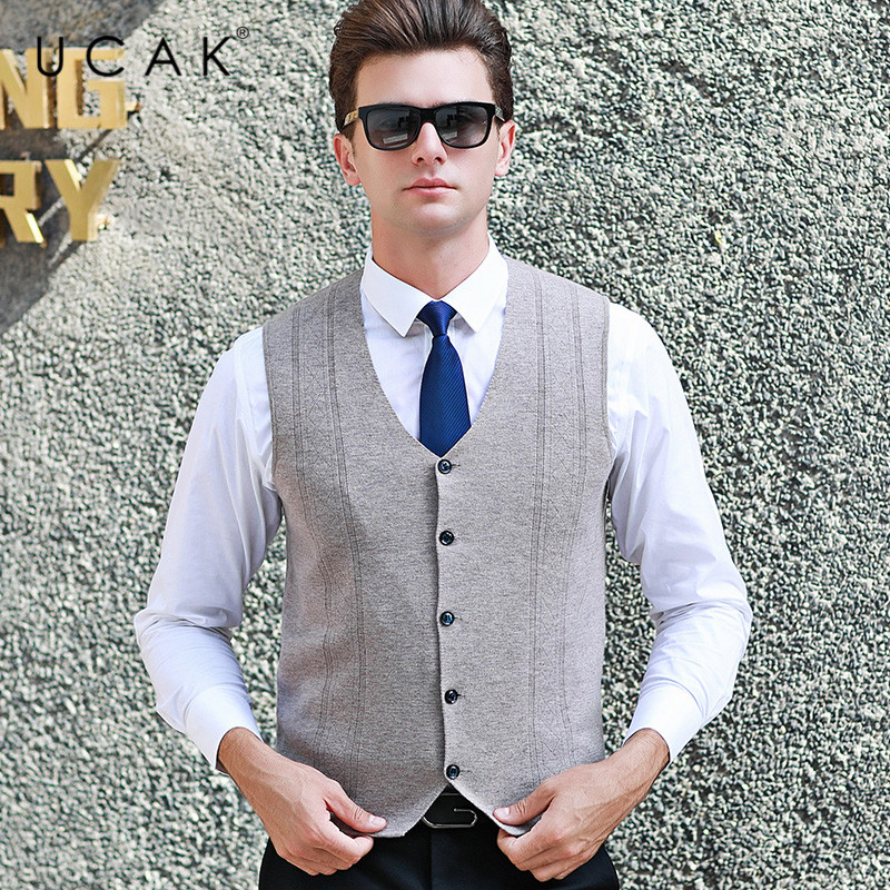UCAK Brand Sweater Vest Men 2019 Autumn Winter Warm Casual Solid Striped Pure Merion Wool Pull Homme Single-Breasted Vests U3100