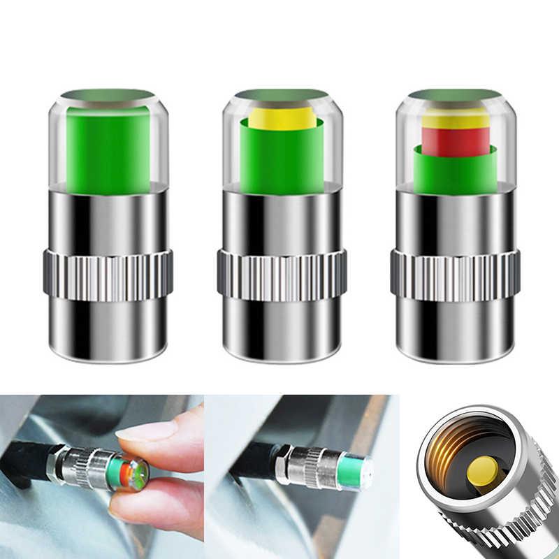 2.4 Bar Monitor ciśnienia w oponie samochodu nakrętka zaworu wskaźnik czujnika 3 kolor oczu Alert monitorowanie zestaw narzędzi ciśnienia w oponach 4 sztuk D5