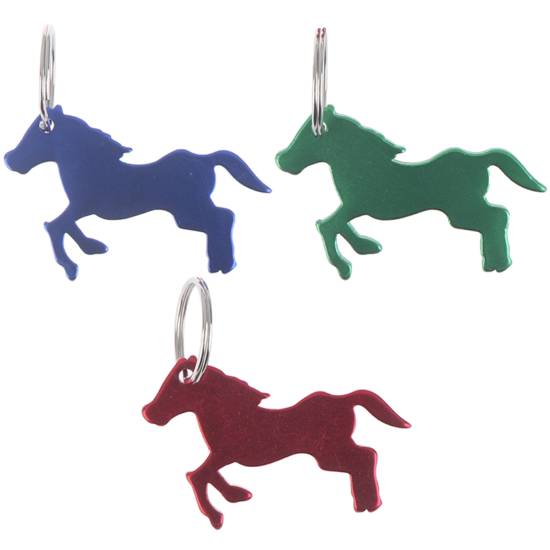 Camping Aluminum Alloy Horse Head Pattern Beer Bottle Opener With Key Ring Keychain Bag Pendent For Outdoor Blue/Red/Green