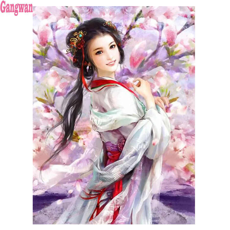 "DIY 5D Diamond Lukisan ""Peach Blossom Beauty Girl"" Persegi Bor Diamond Bordir Potret Wanita Cross Stitch Mosaik dekorasi"
