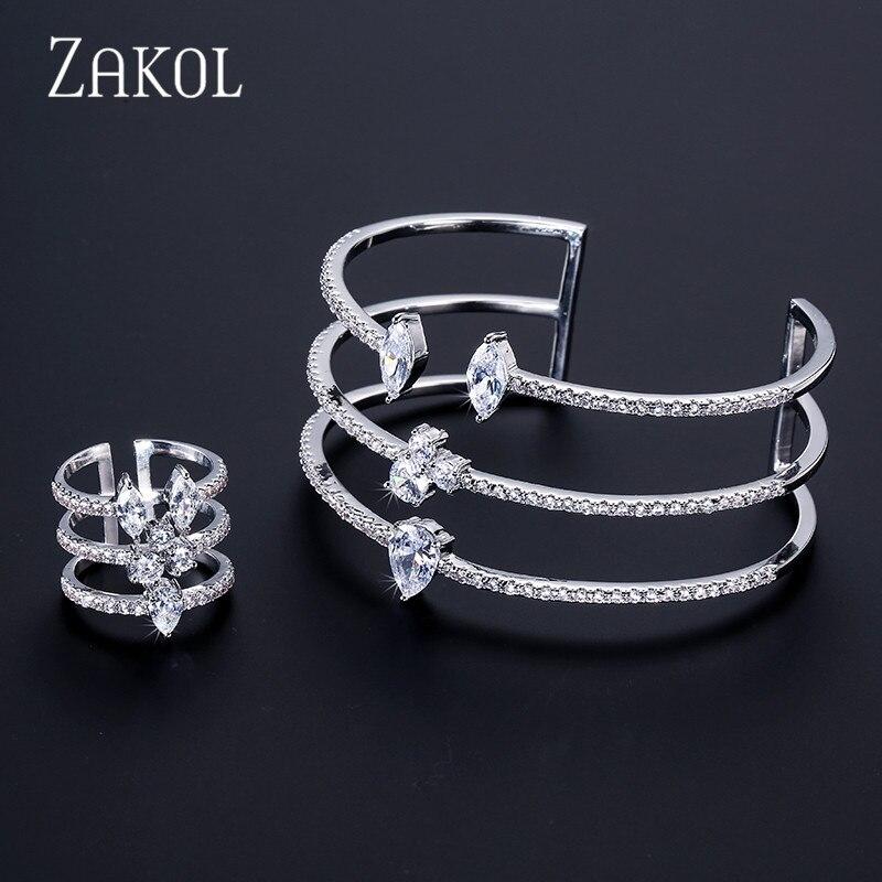 ZAKOL nouveauté forme ronde exquis Micro pavé manchette Bracelets bracelet et anneau ouvert ensemble pour femmes hommes Bijoux Bijoux FSSP394
