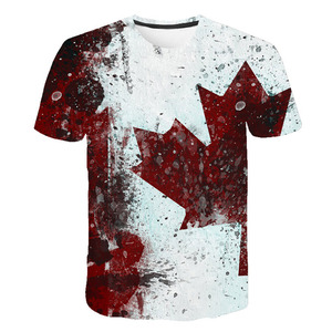 Brand Canada Flag Printing 3D Red maple Tshirt Men Fashion Short Sleeve Summer T-shirts Casual Canada Flag Funny Tops Tees Homme(China)