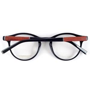 Image 2 - 빈티지 광학 라운드 아세테이트 눈 안경 프레임 남성 여성 복고풍 스타일 안경 나무 다리