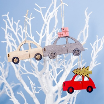 3PCS Wooden Painted Colorful Car Tree Christmas Pendant Ornaments Decor For Home Kids Toys Gift Xmas New Year Party Decorations image