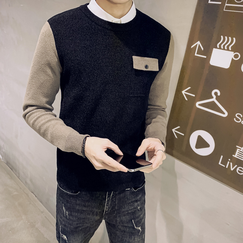 2019 Autumn And Winter New Korean Men's Sweater Youth Slim Stitching Sleeves Two Net Red Knitted Bottoming Sweater