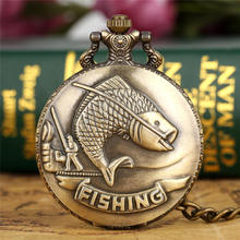 Antique Vintage Retro Bronze Fishing Angling Quartz Pocket Watch Necklace Pendant Men Women Gift P108