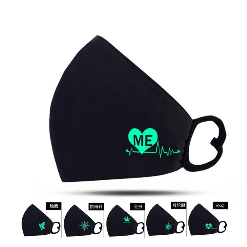 Luminous Anime Mouth Mask Cotton Soft Mondkapjes Reusable Face Mask For PM2.5 Washable Black Carton