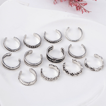12PCs/set Women Lady Unique Adjustable Opening Finger Ring Retro Carved Toe Ring Foot Beach Foot Jewelry anillos mujer 5