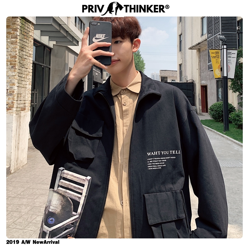 Privathinker Men Hip Hop Pockets Black Jackets Mens Autumn Print Street-style Casual Jacket Male Long Sleeve Fashion Coat 2019
