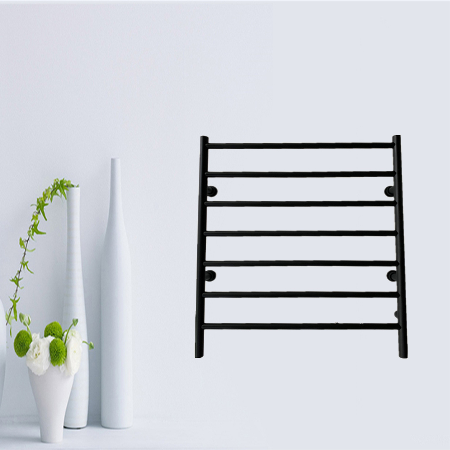 New Matt Black Stainless Steel 304 Wall Mounted Electric Towel Warmer Heated Towel Rail Bathroom Accessory Towel Rack HZ 926A in Towel Warmers from Home Improvement