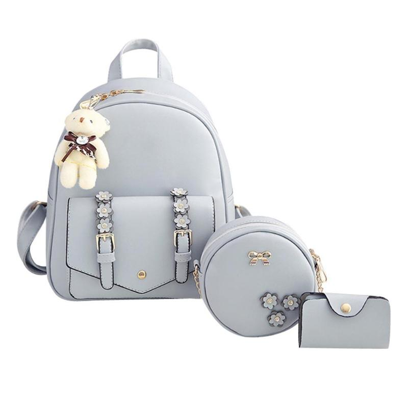 3pcs/set Women Flower PU Leather Backpack Travel Mini Shoulder Bags Mochila For Teenager Girls Backpacks Casual Travel Rucksack