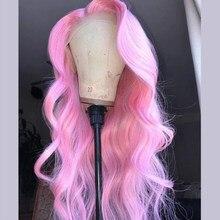Mstoxic rosa onda do corpo peruca dianteira do laço peruca loira 13x1 t parte brasileira frente do laço perucas de cabelo humano para preto feminino remy peruca de cabelo