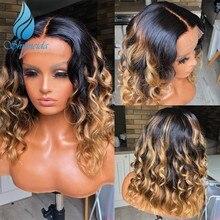 Smd 13*6 ombre perucas dianteiras do laço 150% densidade peruano remy perucas de cabelo humano cabelo do bebê ombre cor glueless perucas do laço pré arrancadas