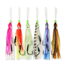 12pcs Assist Hooks With Squid Skirts,Inchiku Assist for Large Sized Jig,Octopus Squid Snapper Jigs Hook, 6 Colors Mixed