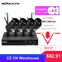 KKmoon 4CH 1080P WiFi NVR Kit with 4pcs 1.0MP Wireless WiFi Waterproof IP Camera Night Vision CCTV Security Surveillance System
