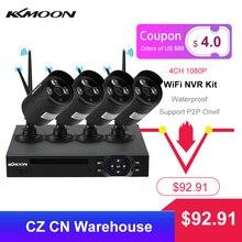 KKmoon sistema de vigilancia de seguridad CCTV, 4 canales, 1080P, WiFi, NVR, 4 Uds., cámara IP inalámbrica de 1.0MP, impermeable, visión nocturna
