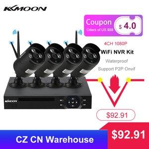Image 1 - KKmoon sistema de vigilancia de seguridad CCTV, 4 canales, 1080P, WiFi, NVR, 4 Uds., cámara IP inalámbrica de 1.0MP, impermeable, visión nocturna